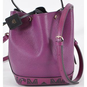 MCM Leather Contrast Logo Mini Crossbody Purse Bag